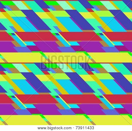 Flat colorful seamless pattern with chaotic skewed rectangles poster