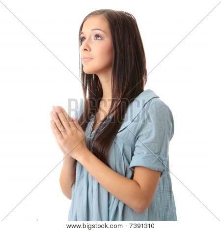 Young Caucasian Woman Praying