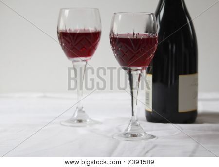 Red Wine in Galases and a Bottle