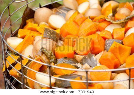 freshly cooked vegetables in steamer