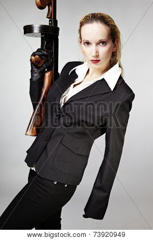 Bad Woman With Tommy Gun