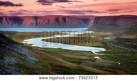 Westfjords in Iceland at sunset