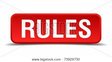 Rules Red 3D Square Button Isolated On White