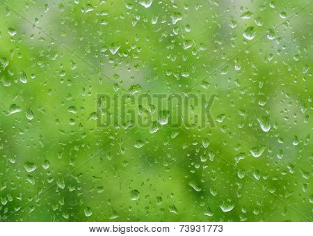 raindrops on window nice bokeh in background poster