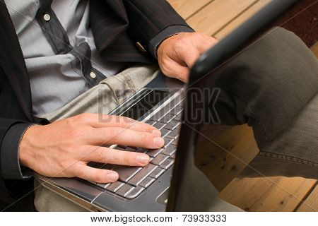 Businessman working with his computer