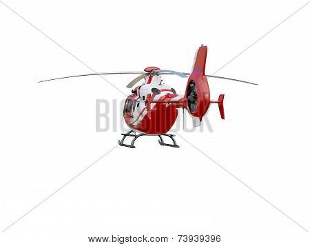 Red helicopter on white background, isolated object poster