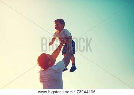 Vintage Color Photo Happy Joyful Father Throws Up In The Air Child