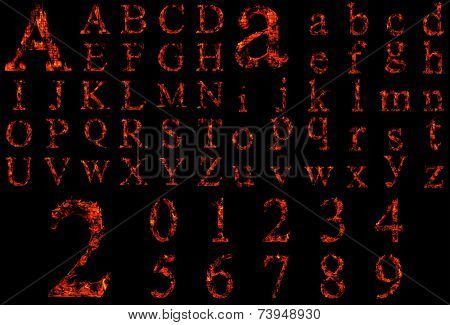 Concept conceptual red burning fire fonts isolated on black background. It is a set, group or collection letters in red and orange flames