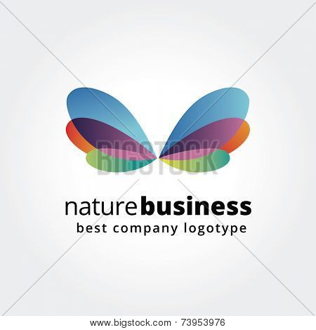 Abstract nature logo icon concept isolated on white background for business design. Key ideas is business, abstract, spa, butterfly, nature, design. Concept for corporate identity and branding. Stock