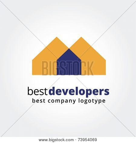 Abstract house logo icon concept isolated on white background for business design. Key ideas is business, estate, houses, rent, emblem, design. Concept for corporate identity and branding. Stock