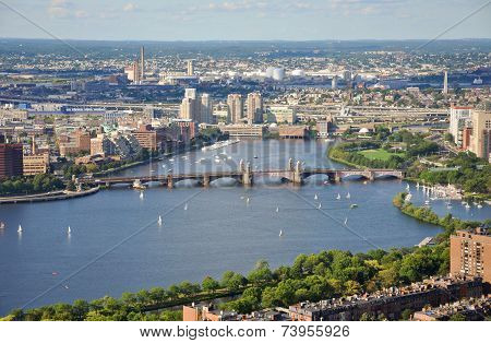 Aerial view of Back Bay, Charles River and Longfellow Bridge, Boston, Massachusetts, USA.