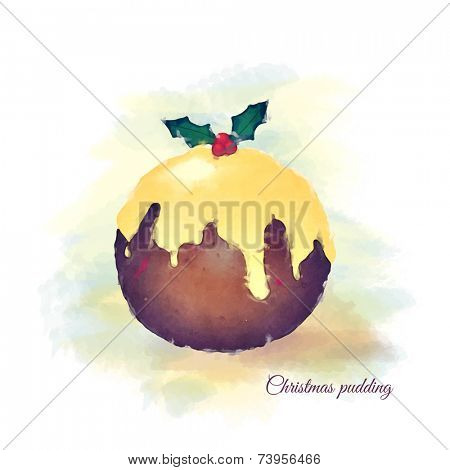 Watercolour of a Christmas pudding, topped with brandy butter and a sprig of holly. EPS10 vector format