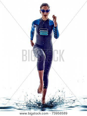 woman triathlon ironman athlete  swimmers on white background