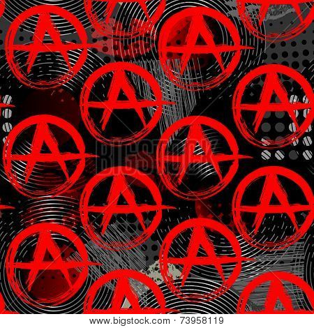 Symbols of anarchy punk pattern