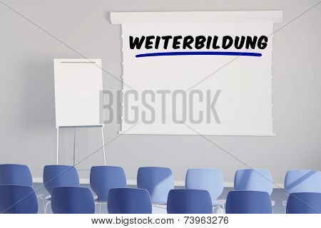German word Weiterbildung (further learning) on a presentation canvas in meeting room