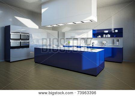 3D Illustration Clean blue kitchen island in a modern kitchen