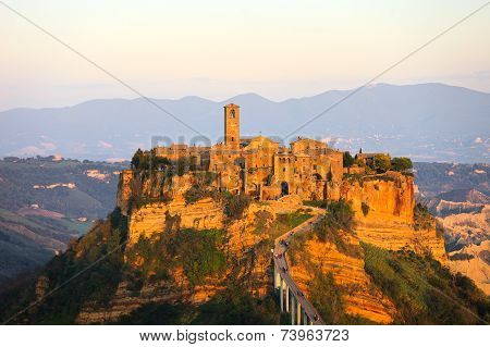 Civita Di Bagnoregio Landmark, Aerial Panoramic View On Sunset. Italy