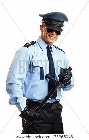 Smiling policeman in sunglasses