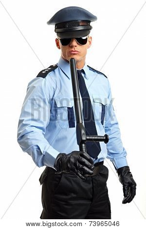 Policeman in sunglasses