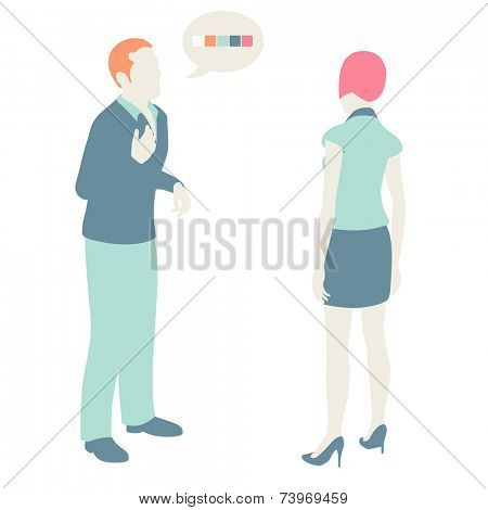 Men and Women Communicate, flat design, pastel colors