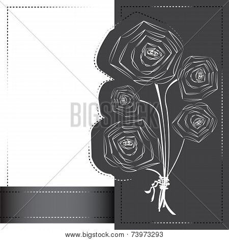 Silhouettes of poppy flowers on the postcard. Vector illustration. poster