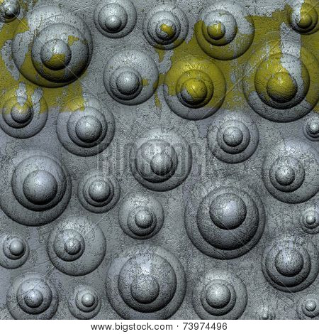 3d abstract bubble grunge backdrop in yellow white poster
