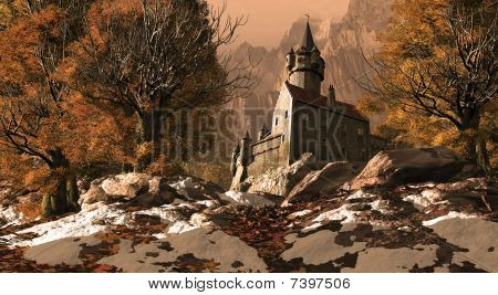 Medieval Castle Fortress In The Mountains