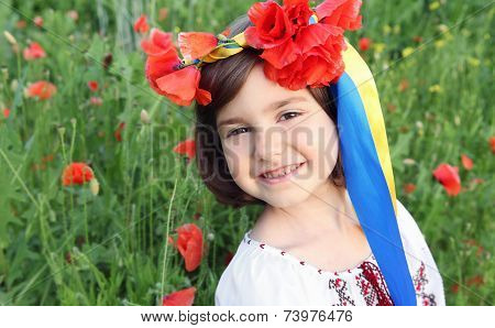 Little Girl In Wreath With Ukrainian Flag Yellow And Blue Ribbons