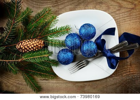 Christmas Plate Blue Baubles Pines Wooden Surface