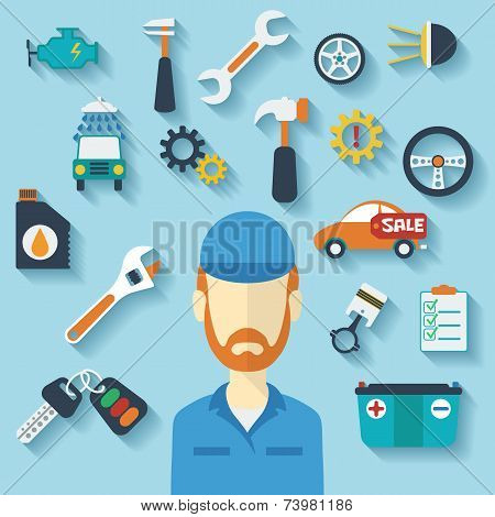 Car service concept with flat icons and mechanic. Vector illustration