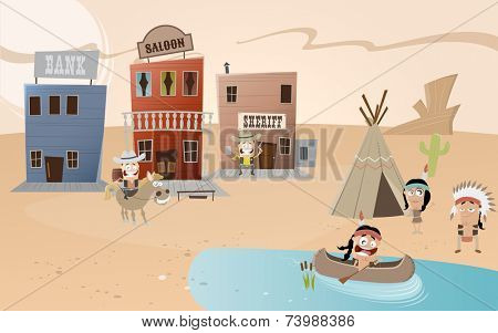 cartoon western town and indian settlement