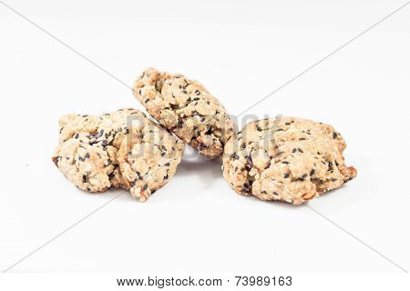 Cereal Cookies Isolated On White Background