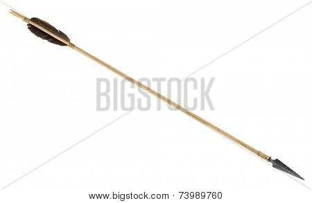 Antique old wooden arrow isolated on a white background