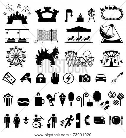 Amusement park icons. Icons set fun and entertainment. Pictogram icon set.