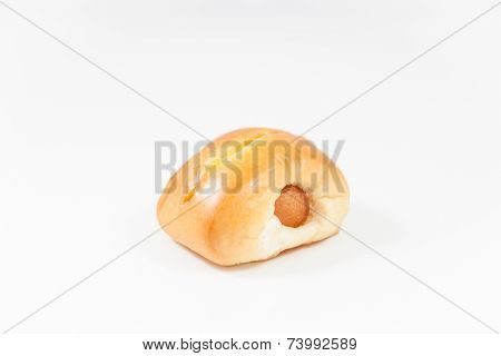 Closeup Sausage Roll Isolated On White Background