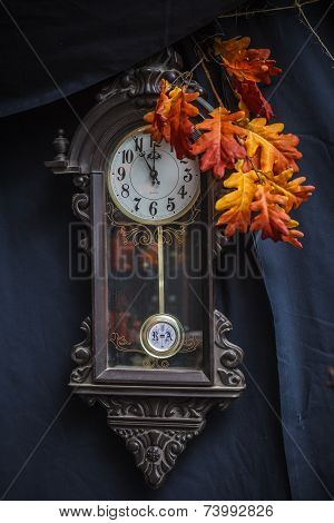 Old Clock And Branch Autumn Oak Leaf
