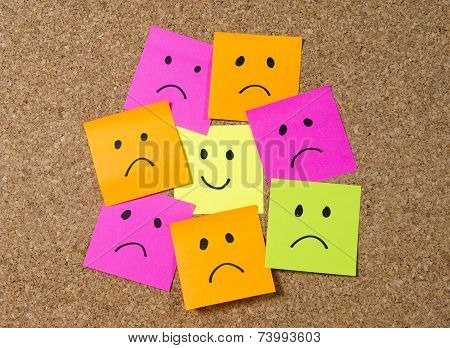 Smiley Post It Note On Corkboard In Happiness Versus Depression Concept