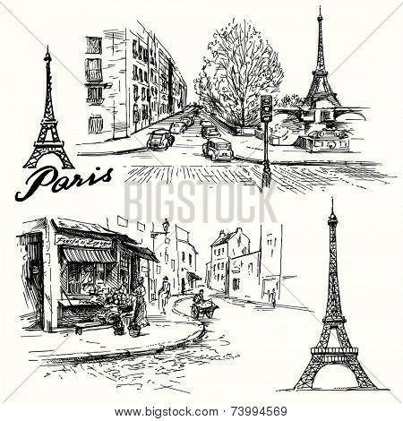France, Paris - Eiffel tower - hand drawn set