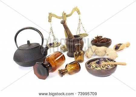 Chinese Medicine With Herbs And Scale