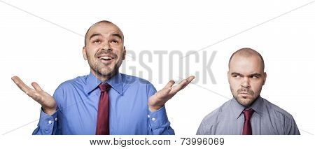 Happy And Frustrated Businessmen