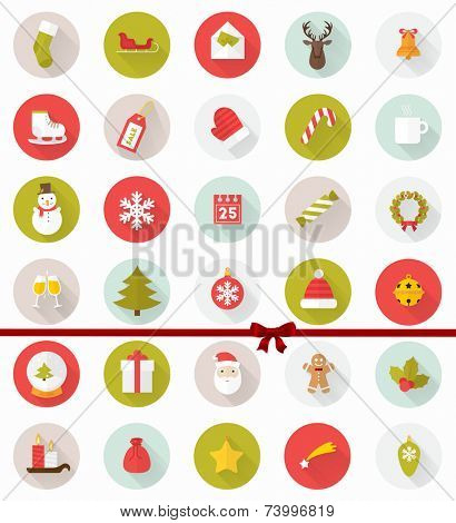 Set of Modern Christmas Flat Style Icons with Long Shadows. Holiday Xmas Design. Vector.