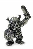 Miniature pewter Viking isolated on white poster