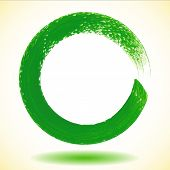 Illustration of Green paintbrush circle vector frame poster