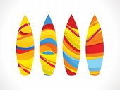 abstract artistic colorful surf board vector illustration poster