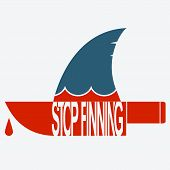 Stop finning. Vector symbol of safe sharks and planet. poster