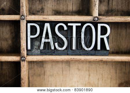 Pastor Concept Metal Letterpress Word In Drawer