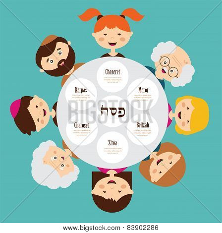big family around passover plate, pesah in hebrew. happy holiday.