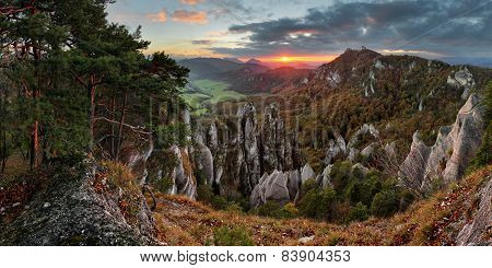 Autumn Mountain At Sunset With Rocks