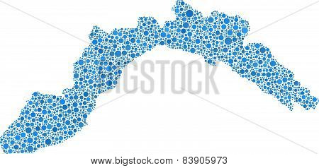 Blue Map of Liguria - Italy -