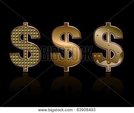 Three dollar signs